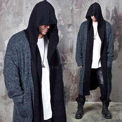 Contrast layer heather knit long hood cardigan