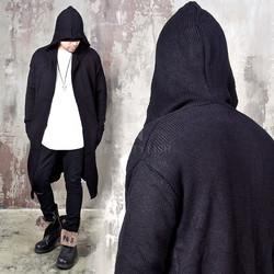 Hooded knit open long cardigan