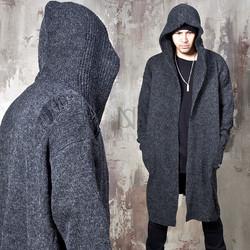 Avant-garde distressed hooded knit cardigan