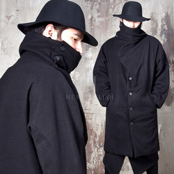 Avant-garde wrap turtle neck coat