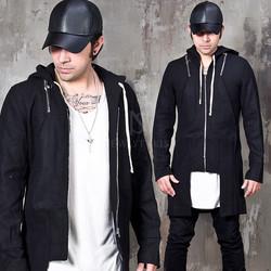 Unblanced hem hooded zip-up wool coat