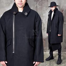 Eyelet zip-up oversized wool coat