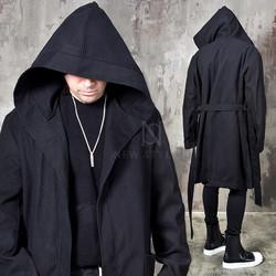 Avant-garde belted big hooded coat
