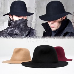 Plain long brim wool fedora