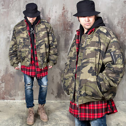 Wide sleeves camouflage padded zip-up jacket
