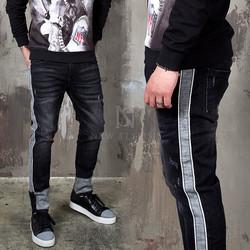 Distressed washed black contrast slim jeans