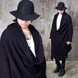 Avant-garde wide loose neck shirring knit long shirts