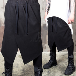 Avant-garde asymmetric skirt wrap bending pants