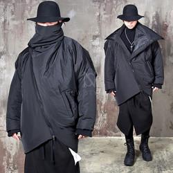 Avant-garde asymmetric high-neck zip-up padded parka