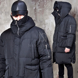 Duck down padded high neck long parka