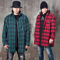 Unbalanced checkered boxy shirts