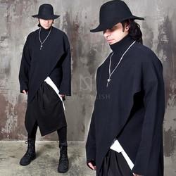 Avant-garde asymmetric cut high neck shirts