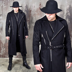 Zipper accent belted slim wool coat