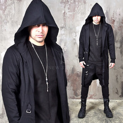 Distressed cut  belted hooded long cardigan