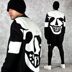 Smiling skull knit long cardigan