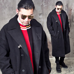 Clip accent oversized big collar long coat