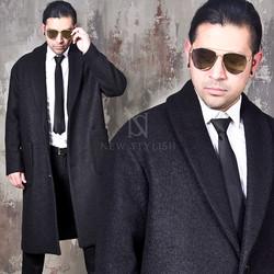 Shawl collar terry fabric long coat