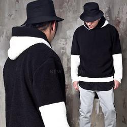 Contrast lamb wool hoodie