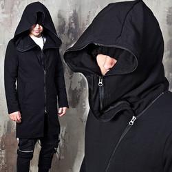 Double Layered big hooded diagonal zip-up hoodie