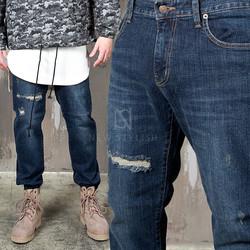 Distressed washed denim slim straignt jeans