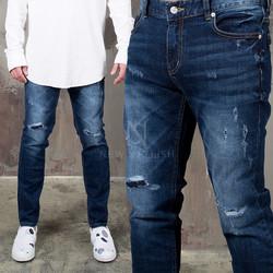 Distressed washed deep blue slim denim jeans