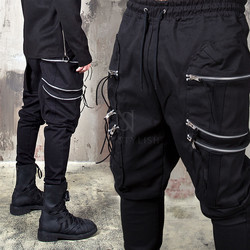 6 zippered big pocket black bending pants