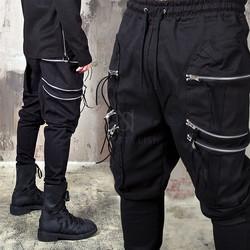 6 zippered big pocket black bending pants