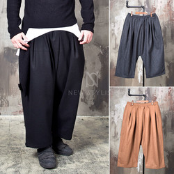 Avant-garde big wide wool bending pants