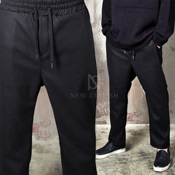 Plain wool bending baggy pants