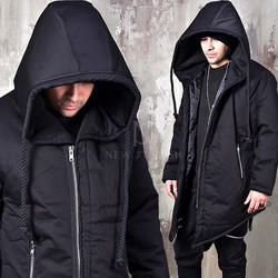 Rope big hooded asymmetric cut padded parka
