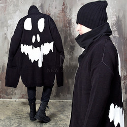 Side opening skull back long knit cardigan