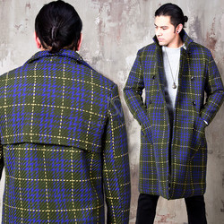 Stitch checkered unique back double long coat