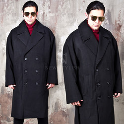 Side opening oversized double long coat