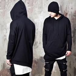 Black loose fit unbalanced hoodie
