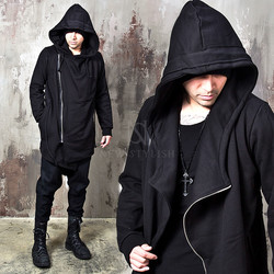 Unbalanced shawl black zip-up hoodie