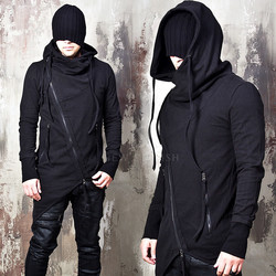 Avant-garde asymmetric diagonal zip-up hoodie