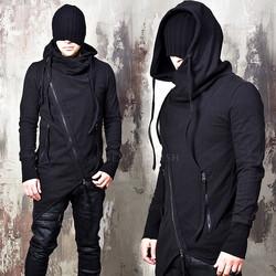 Avant-garde asymmetric diagonal zip-up hoodie