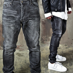Gray washed distressed zipper slim jeans