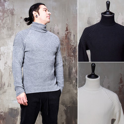 Pintuck accent turtle neck knit sweater