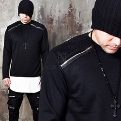 Lamb wool contrast shoulders zipper shirts