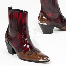 Contrast grunge wine western high heel leather boots