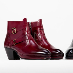 Belted leather band high heel boots