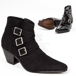 Black leather triple buckle high heel ankle boots
