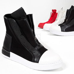 Double zipper high-top sneakers