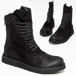 Black suede high-tongue boots