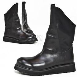 Asymmetric black long high-top boots