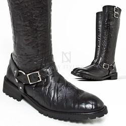Elephant pattern leather high heel buckled long boots