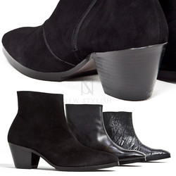 Black leather high heel ankle boots