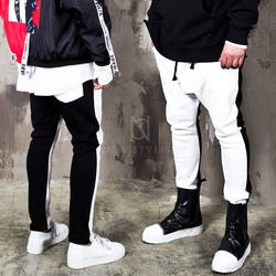 Black and white contrast baggy sweatpants