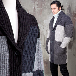 Multiple contrast twisted pattern knit shawl cardigan